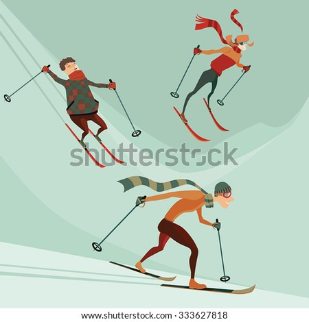set of vector illustrations of people engaged in skiing - stock vector