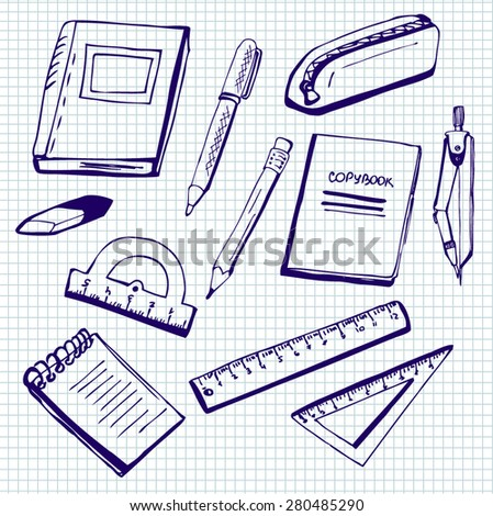 Set of vector illustrations of school supplies. Blue ink doodles on lined paper background. - stock vector