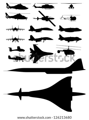 set of vector illustrations of silhouettes of aircraft. - stock vector