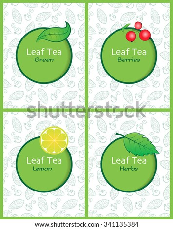 Set of vector illustrations of tea packaging. Hand-drawn patterns with leaves of tea and the cups of tea. Packaging for tea with berries, green tea, tea with lemon and tea with herbs.