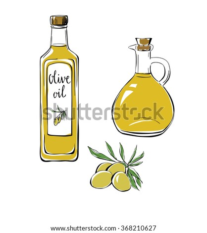 Set of vector illustrations Olive oil. Hand drawn olives with leaves, glass bottle and pitcher/ Doodle objects isolated on white background. Black outline and colorful stains.