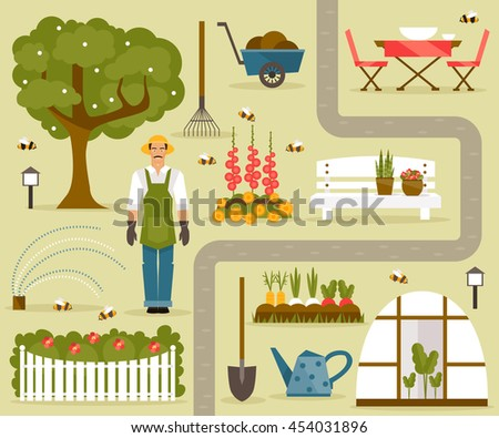 Set Vector Illustrations On Theme Garden Stock Vector 454031896