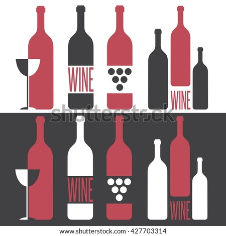 set of vector illustrations on wine theme - stock vector