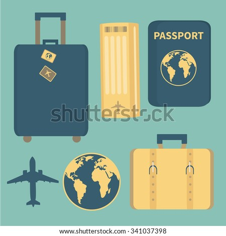 Set of vector illustrations. Travel, vacation - stock vector