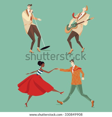 set of vector illustrations with musicians and a couple dancing Lindy Hop - stock vector