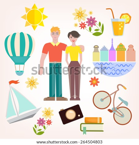 Set of vector images concept lifestyle of young couple in the flat style.