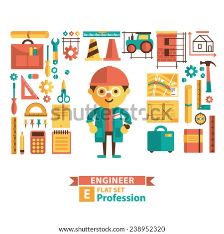 Set of vector images in a flat style. Engineering profession. Cartoon characters and icons. Male character. - stock vector
