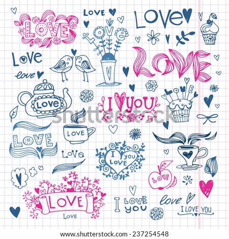 Set of vector images in sketch style   for Valentine's Day. Heart and text lov', floral arrangements, cozy houses, cups and teapot with hearts - stock vector