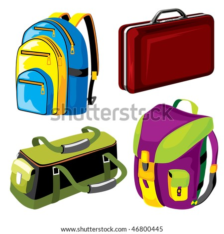 set of vector images of bags and backpacks luggage