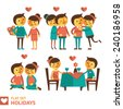 Set of vector images of couples in the flat style. Characters in different situations and poses. flat design. - stock vector
