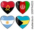 Set of vector images of hearts with the flags of Afghanistan, Angola, Argentina, Bahamas - stock photo