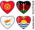 Set of vector images of hearts with the flags  of Kenya, Cyprus, Kyrgyzstan, Kiribati - stock vector