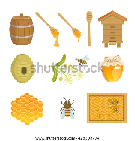 Set of vector images of honey and beekeeping. Vector illustration of jar with honey, honeycomb, honey barrel, beehive, honey dipper, home for bees, linden flower and bee.
