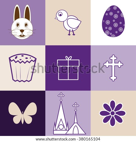 Set of 9 vector images on the theme of Easter