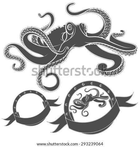 Set of vector images with octopus. Isolated objects on a white background.  - stock vector