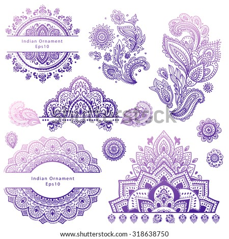 Set of vector Indian floral ornaments. Mandala. Henna - stock vector