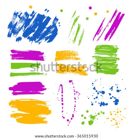 Set of vector ink colorful blots and splashes. Hand drawn blots. - stock vector