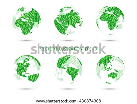 Set of vector ink drawing globe showing earth with all continents.Vector illustration. - stock vector