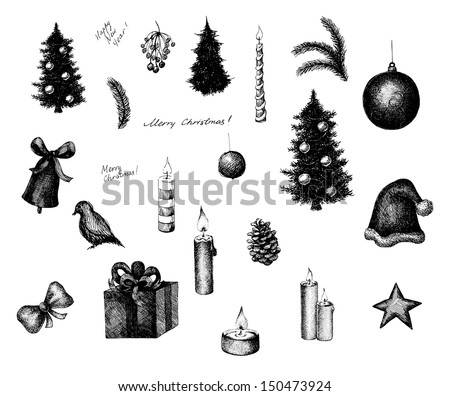 Set of vector ink style Christmas elements, such as decorated fir tree, cone, cap, gift, candles and other. Black and white engraving print. - stock vector