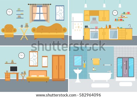 Delightful Set Of Vector Interiors With Furniture And Equipment. Design A Living Room,  Kitchen, Part 4