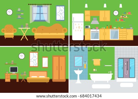 Set Of Vector Interiors With Furniture And Equipment. Design A Living Room,  Kitchen, Part 34