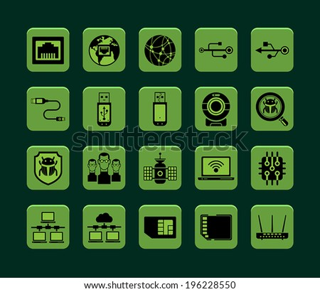 Set of vector internet and network icons. - stock vector