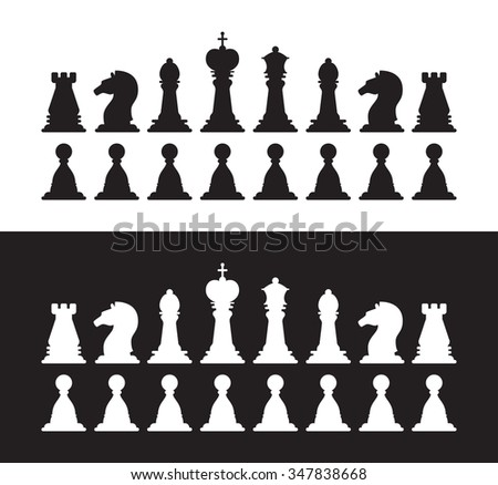 Set of vector isolated black and white chess silhouettes. Collection of the king, queen, bishop, knight, rook, and pawn - stock vector