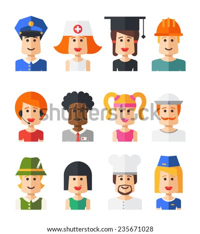 Set of vector isolated flat design people icon avatars for social network and your design - stock vector