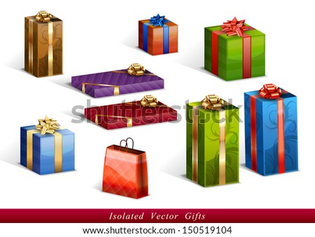 set of vector isolated gifts - stock vector