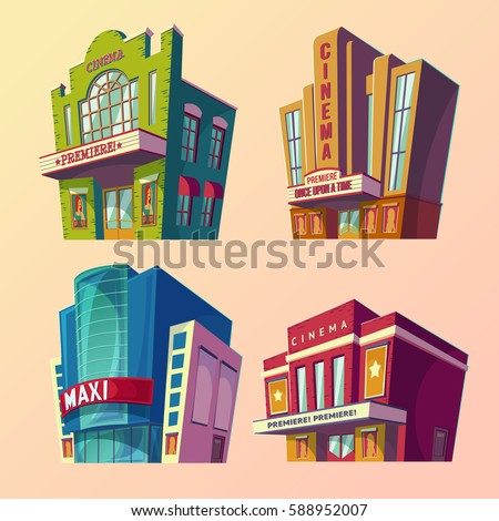 Movie Theater Building Stock Images, Royalty-Free Images ...  Cinema Building Cartoon