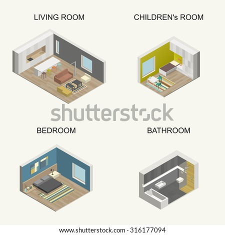 Set of vector isometric rooms. - stock vector