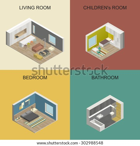 Set of vector isometric rooms. Interior design - stock vector