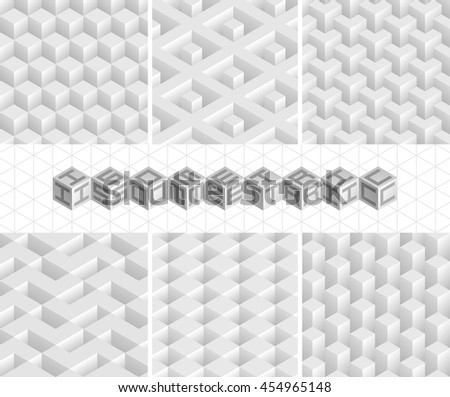 Set of vector isometric textures. Six white seamless patterns. Collection of geometric patterns for your design. - stock vector
