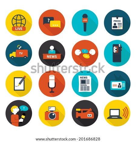 Set of vector journalism icons. Modern flat symbols of journalism including computer, news, reporter, camera, accreditation, pencil and notebook. - stock vector