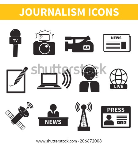 Set of vector journalism icons. Modern flat symbols of journalism including computer, news, reporter, camera, accreditation, pencil and some more. - stock vector