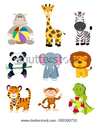 set of vector jungle cartoon animals - stock vector