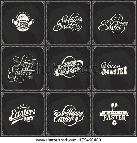 Set of vector label elements of easter holiday on blackboard background. Perfect as template for greeting card - stock vector