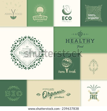 Set of vector labels and design elements for healthy products. - stock vector
