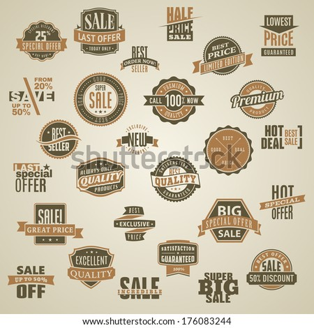 Set of vector labels and ribbons of big sales and quality products - stock vector