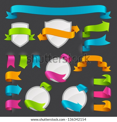 Set of vector labels and stickers. - stock vector
