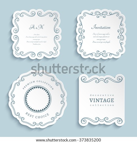 Set of vector labels, cutout paper frames with flourish decoration, vintage ornamental calligraphic vignettes, eps10 - stock vector