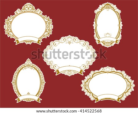 Set of vector labels, cutout paper frames with flourish decoration, vintage ornamental calligraphic vignettes