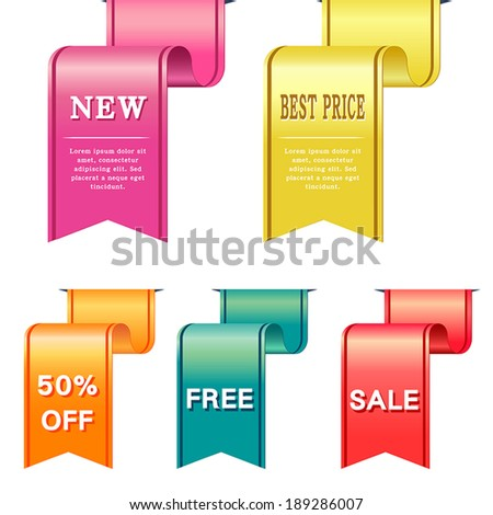 set of vector labels in different colors