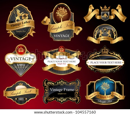 Set of vector  labels with gold elements - stock vector