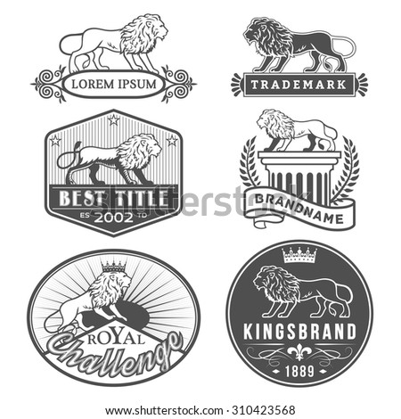 Set of vector labels with main lion design theme. Logo templates,badges,emblems,signs black graphic collection. Product promotion and advertising symbols isolated on white background - stock vector