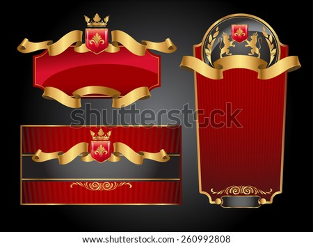 Set of vector labels with red and gold elements  - stock vector