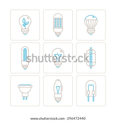 Set of vector light bulb icons and concepts in mono thin line style - stock vector