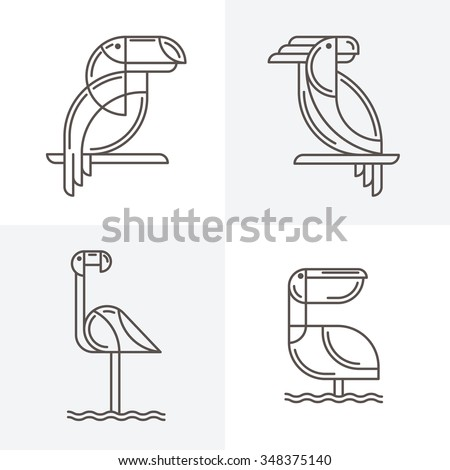 Set of vector line art logo with exotic tropical birds. Outline illustrations of toucan, cockatoo parrot, flamingo and pelican. Trendy icons and design elements.  - stock vector