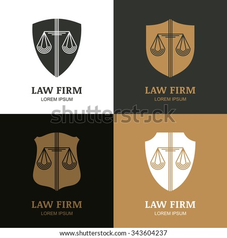 Set of vector line art vintage law firm logo template. Trendy abstract illustration of scales and shield. Design concept for law and legal business, heraldic emblem, lawyer, label, badges.