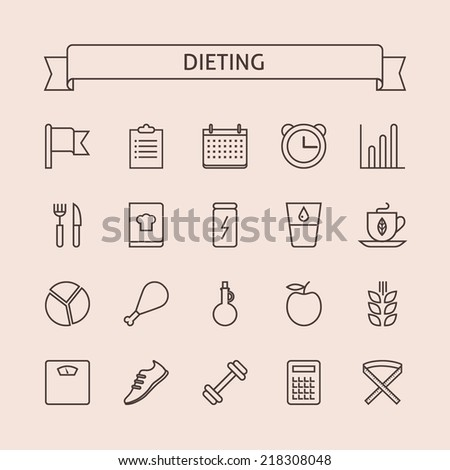 Set of vector line icons for balanced dieting, weight loss, keeping fit, nutrition system, healthy lifestyle isolated on light background - stock vector